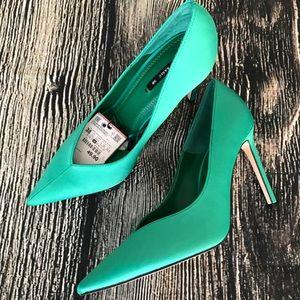 Zara High Heels V Vamp Green Size 7.5 EU 38